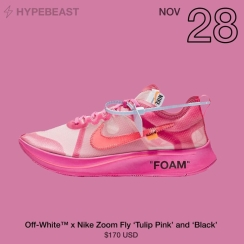 Off White x Nike Zoom Fly 'Tulip Pink' and 'Black'